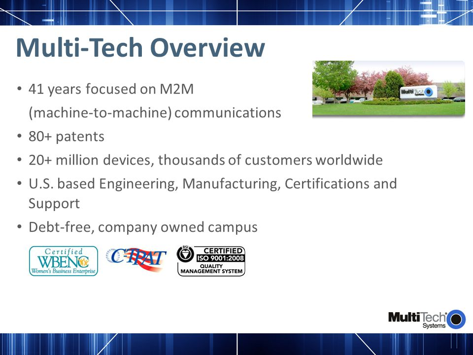 Multi-Tech Overview 41 years focused on M2M