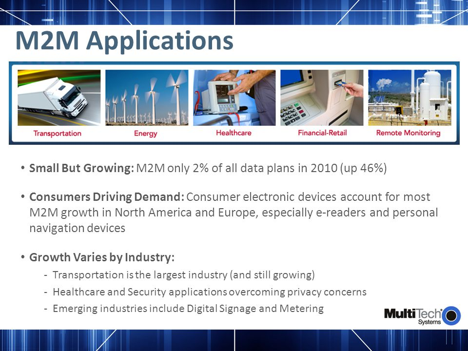 M2M Applications Small But Growing: M2M only 2% of all data plans in 2010 (up 46%)