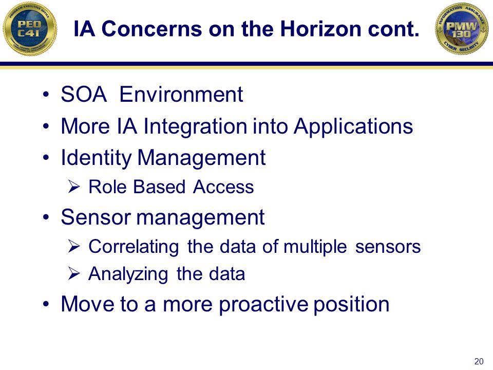 IA Concerns on the Horizon cont.