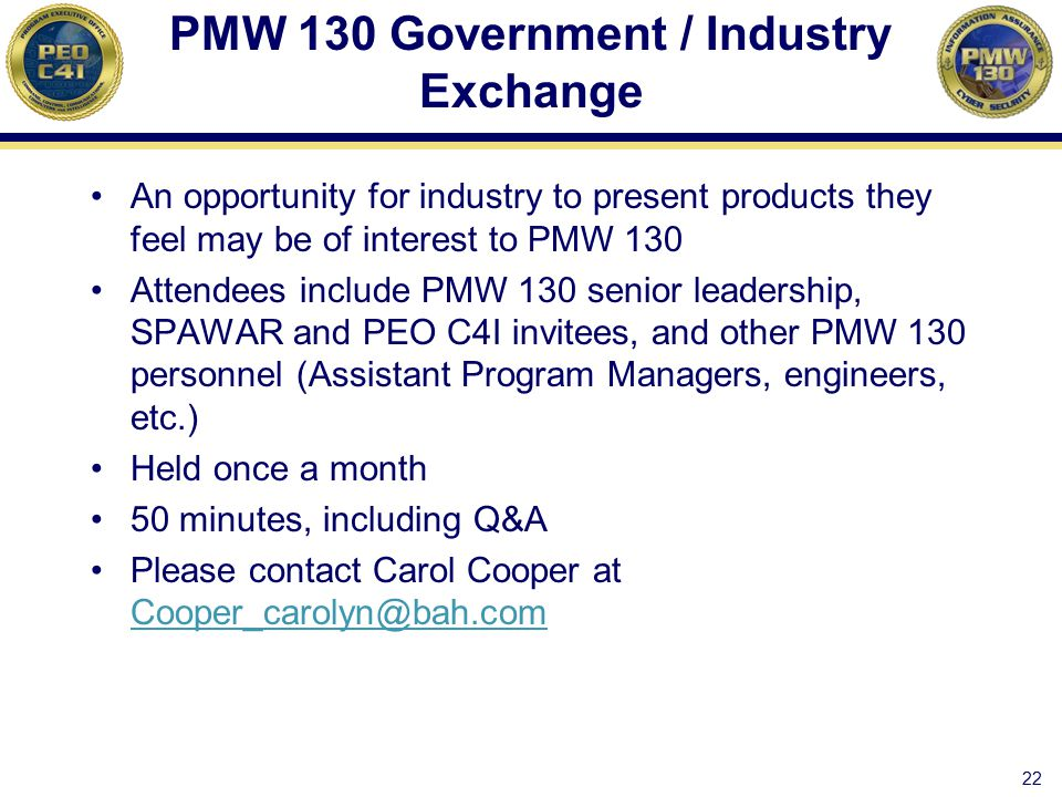 PMW 130 Government / Industry Exchange