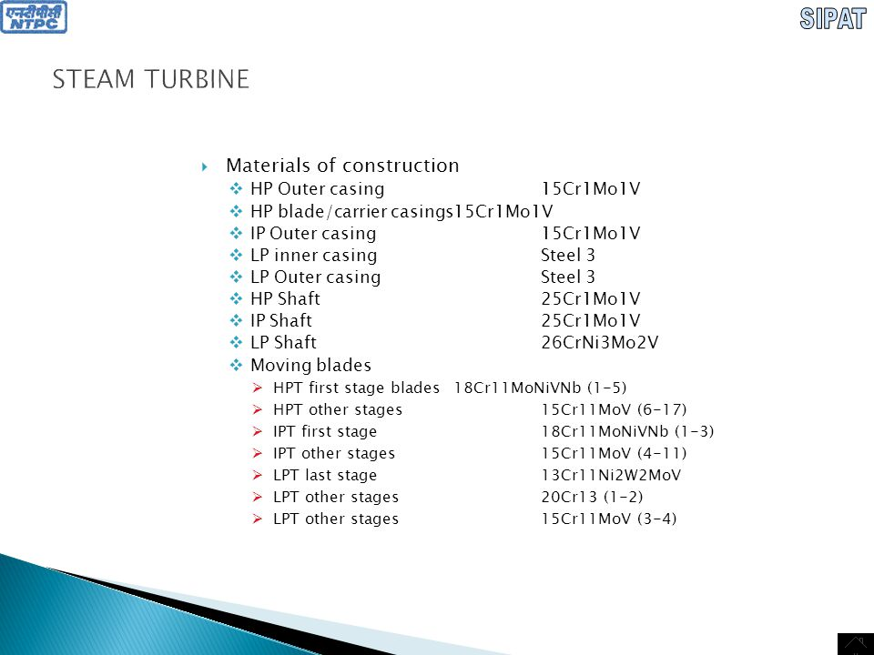 STEAM TURBINE Materials of construction HP Outer casing 15Cr1Mo1V