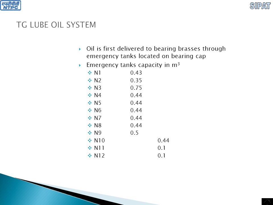 SIPAT TG LUBE OIL SYSTEM. Oil is first delivered to bearing brasses through emergency tanks located on bearing cap.
