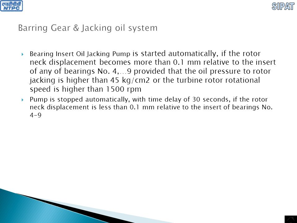 Barring Gear & Jacking oil system