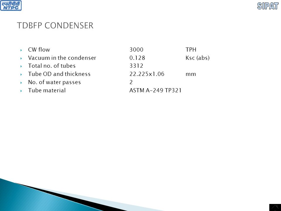 TDBFP CONDENSER CW flow 3000 TPH