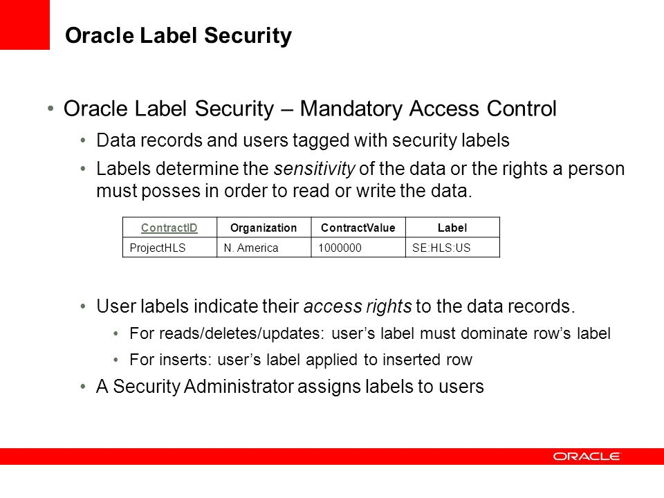 Oracle Label Security – Mandatory Access Control
