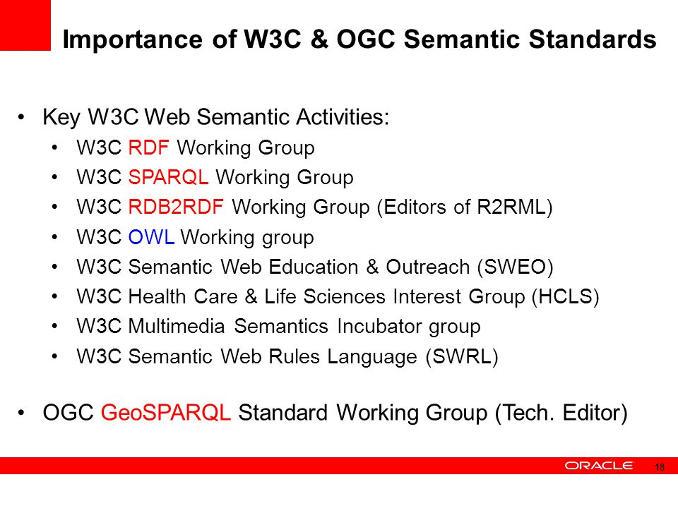 Importance of W3C & OGC Semantic Standards