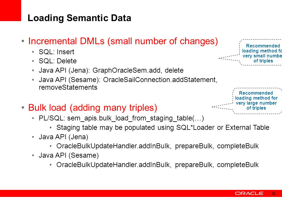 Incremental DMLs (small number of changes)