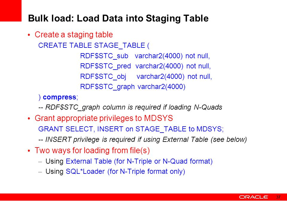 Bulk load: Load Data into Staging Table