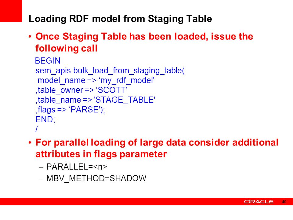 Loading RDF model from Staging Table