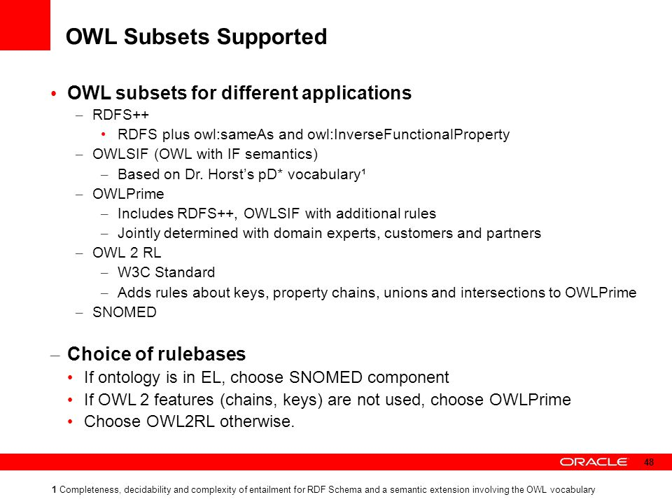 OWL Subsets Supported OWL subsets for different applications