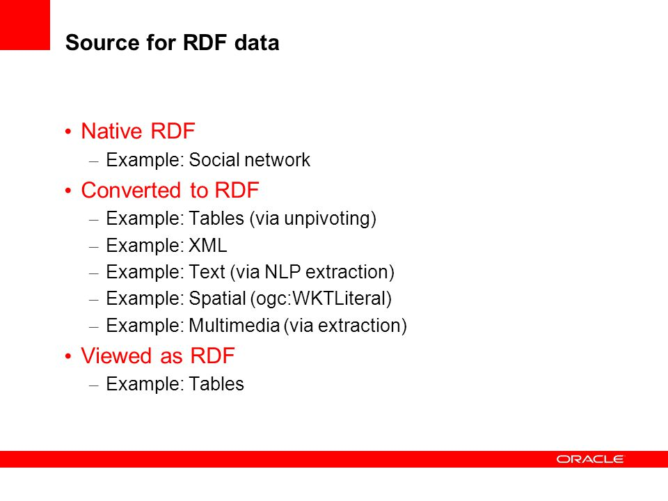 Source for RDF data Native RDF Converted to RDF Viewed as RDF
