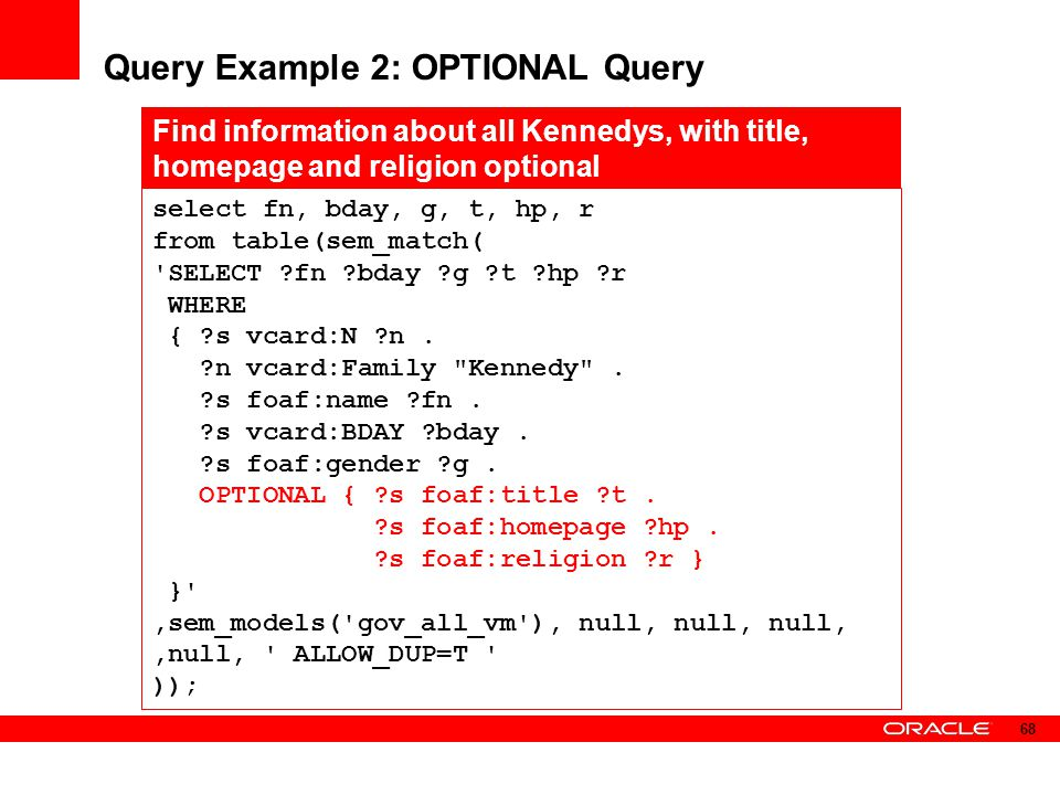 Query Example 2: OPTIONAL Query