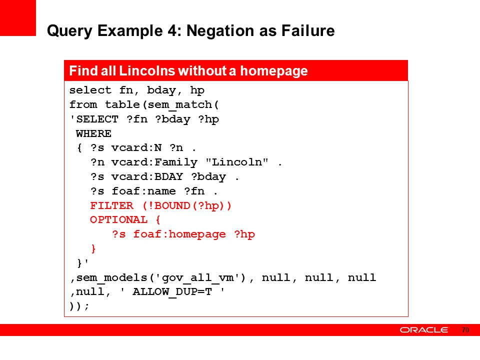 Query Example 4: Negation as Failure