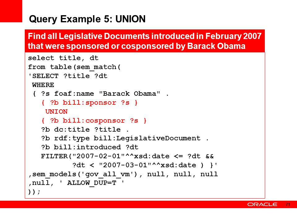 Query Example 5: UNION select title, dt. from table(sem_match( SELECT title dt. WHERE. { s foaf:name Barack Obama .
