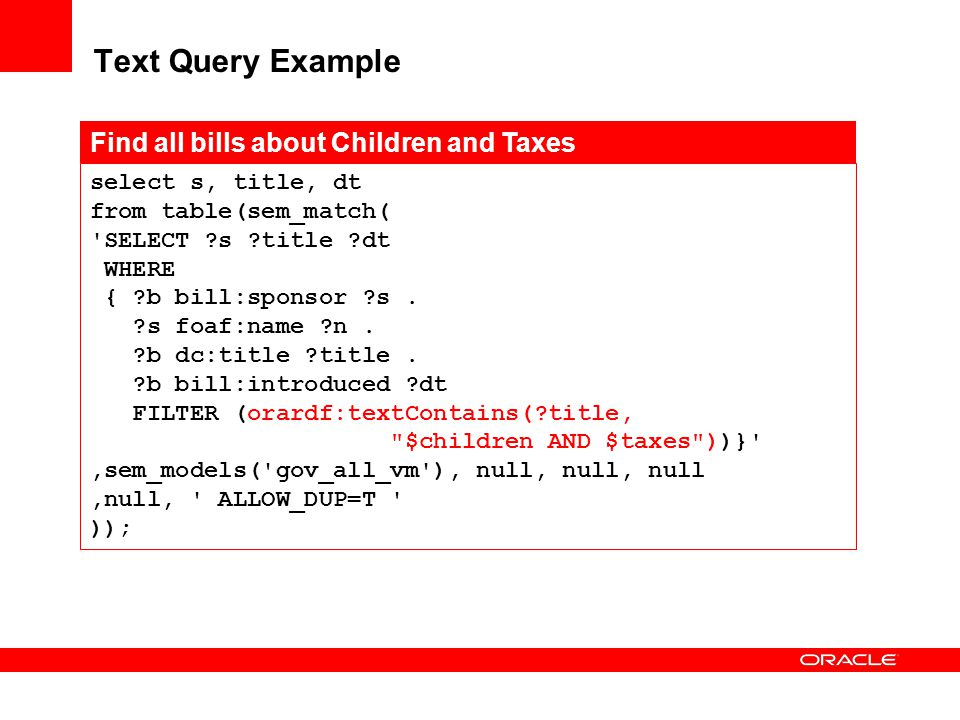 Text Query Example Find all bills about Children and Taxes