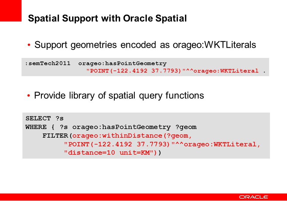 Spatial Support with Oracle Spatial