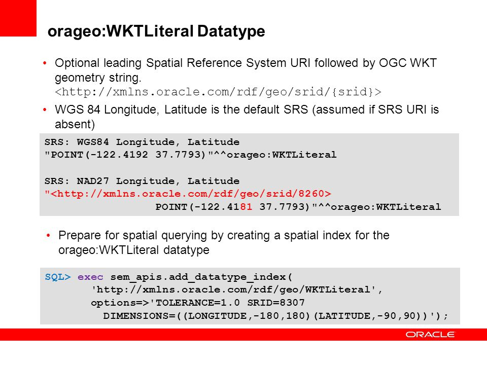orageo:WKTLiteral Datatype