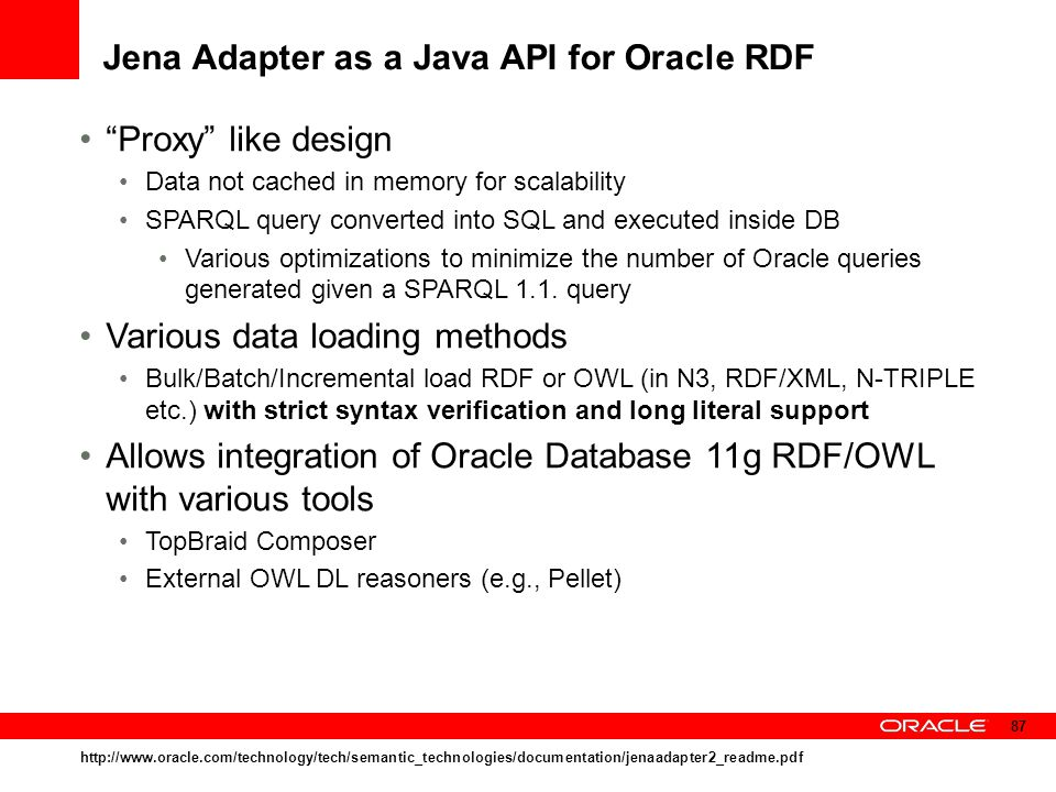 Jena Adapter as a Java API for Oracle RDF