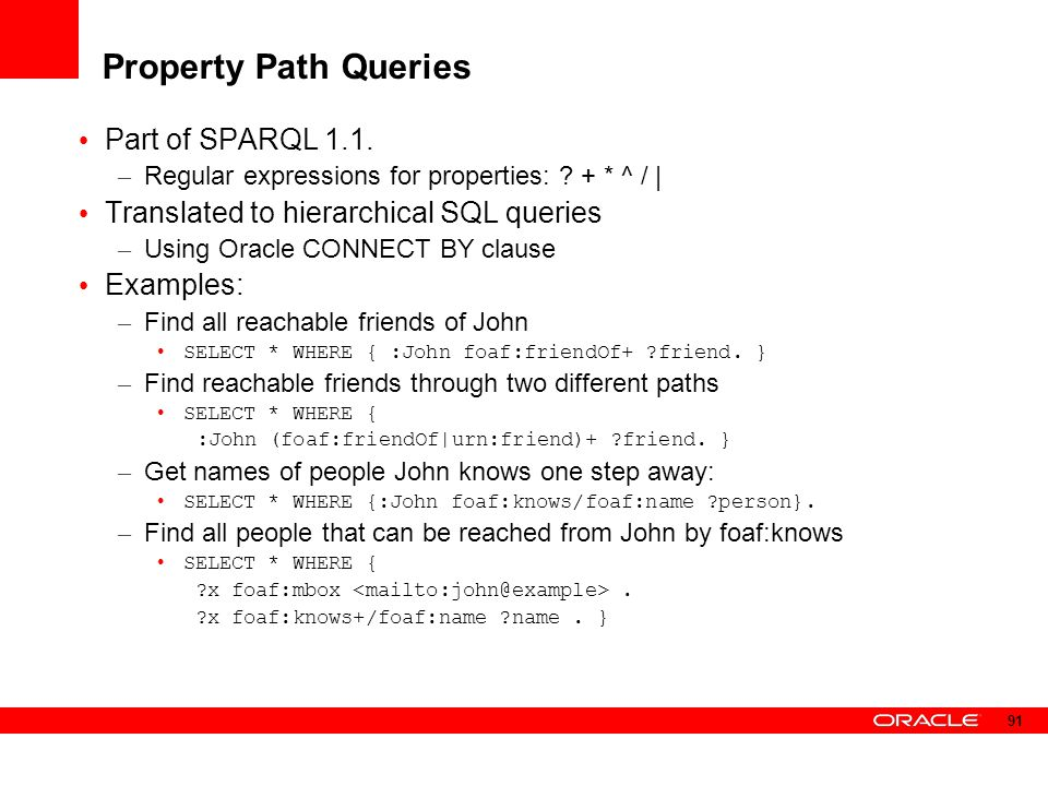Property Path Queries Part of SPARQL 1.1.