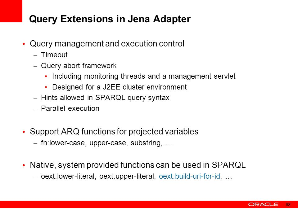 Query Extensions in Jena Adapter
