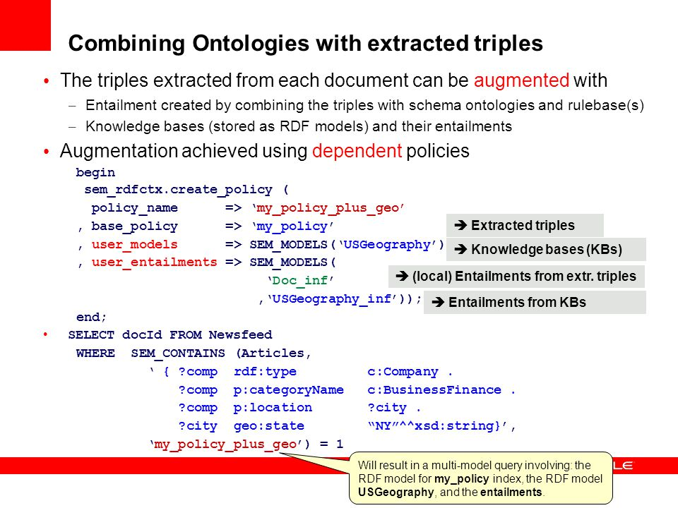 Combining Ontologies with extracted triples