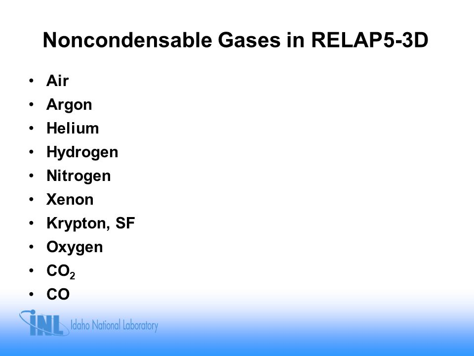 Noncondensable Gases in RELAP5-3D