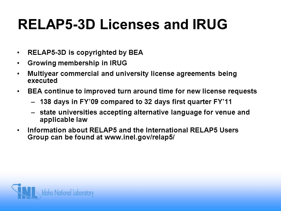 RELAP5-3D Licenses and IRUG
