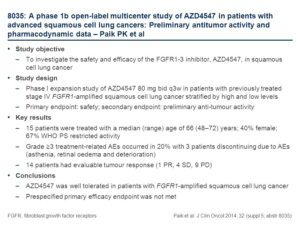 8035: A phase 1b open-label multicenter study of AZD4547 in patients with advanced squamous cell lung cancers: Preliminary antitumor activity and pharmacodynamic data – Paik PK et al