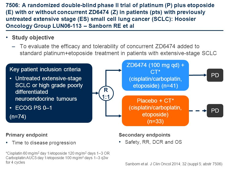 ZD6474 (100 mg qd) + CT* (cisplatin/carboplatin, etoposide) (n=41)