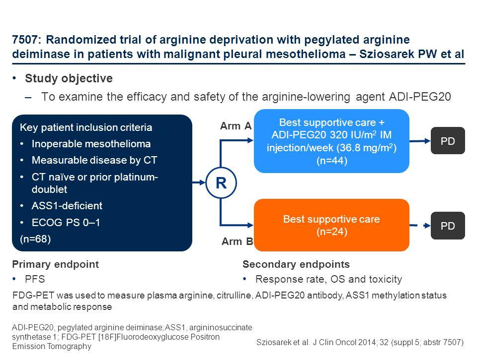 ADI-PEG20 320 IU/m2 IM injection/week (36.8 mg/m2)