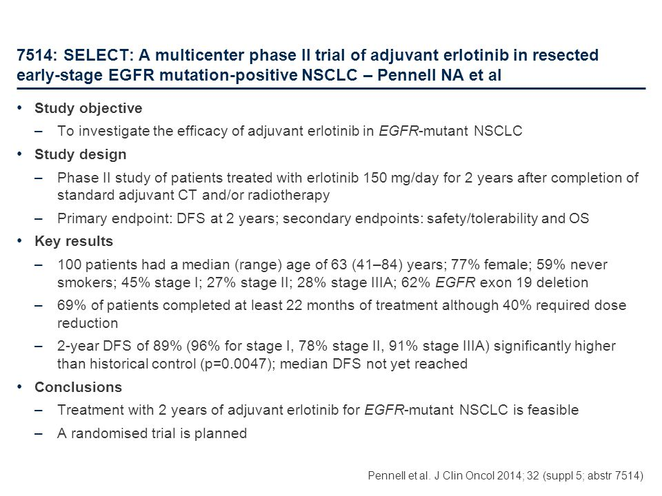 7514: SELECT: A multicenter phase II trial of adjuvant erlotinib in resected early-stage EGFR mutation-positive NSCLC – Pennell NA et al