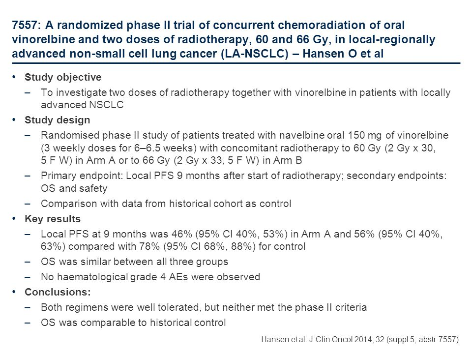 7557: A randomized phase II trial of concurrent chemoradiation of oral vinorelbine and two doses of radiotherapy, 60 and 66 Gy, in local-regionally advanced non-small cell lung cancer (LA-NSCLC) – Hansen O et al