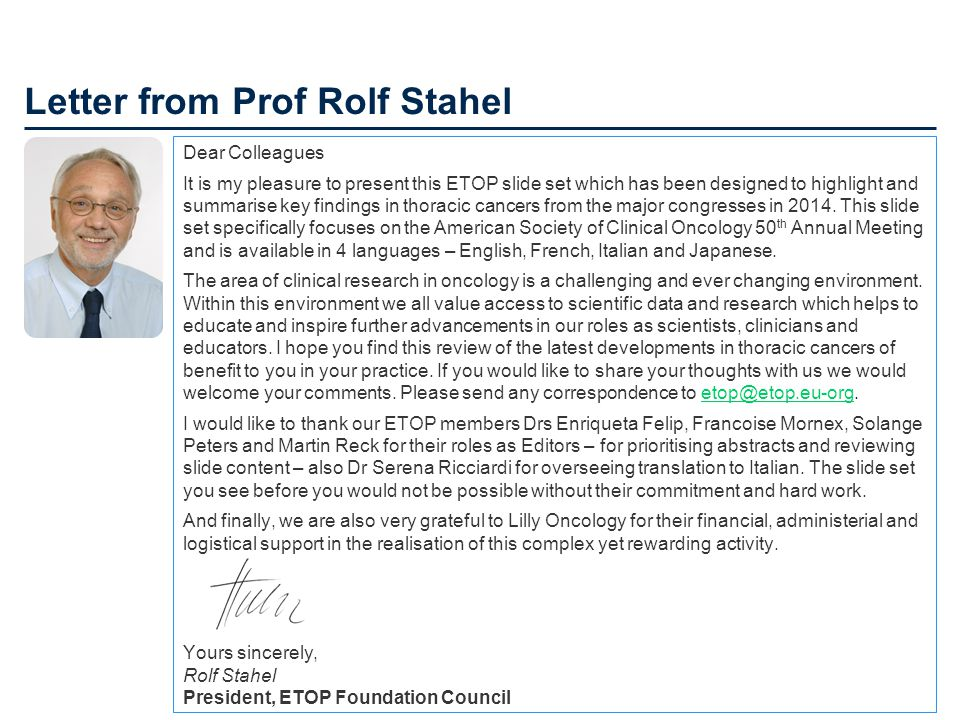 Letter from Prof Rolf Stahel