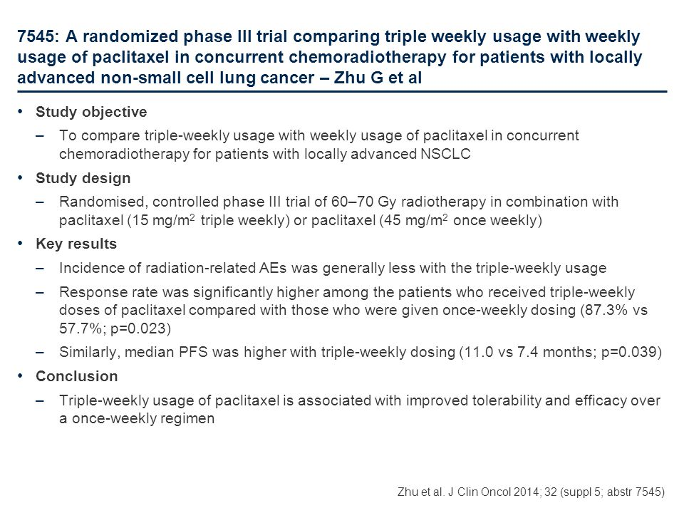 7545: A randomized phase III trial comparing triple weekly usage with weekly usage of paclitaxel in concurrent chemoradiotherapy for patients with locally advanced non-small cell lung cancer – Zhu G et al