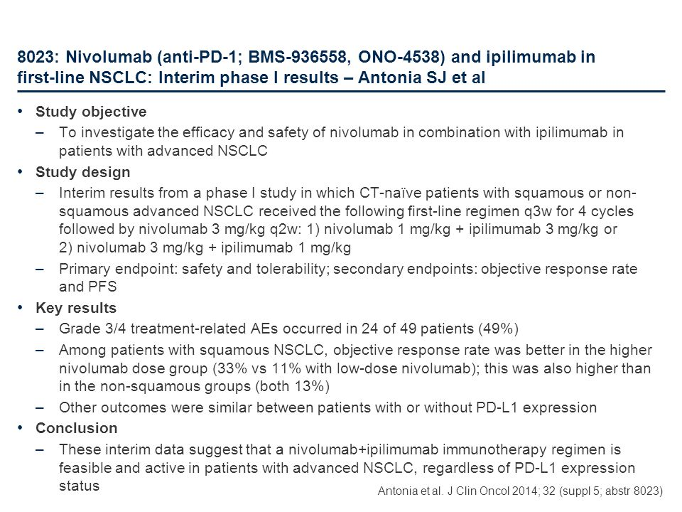 8023: Nivolumab (anti-PD-1; BMS-936558, ONO-4538) and ipilimumab in first-line NSCLC: Interim phase I results – Antonia SJ et al