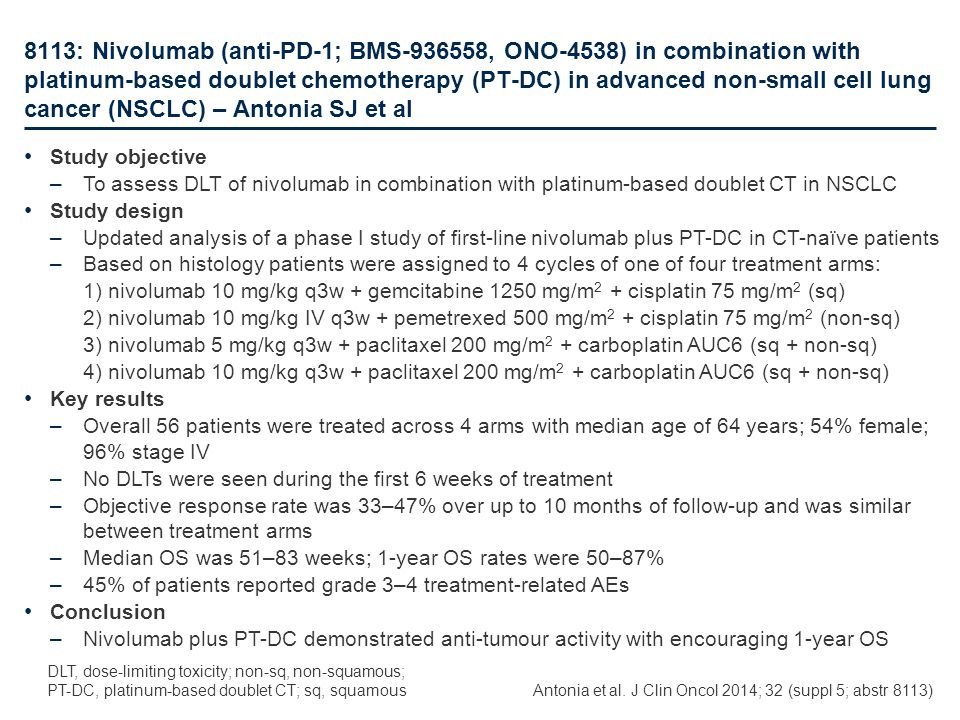 8113: Nivolumab (anti-PD-1; BMS-936558, ONO-4538) in combination with platinum-based doublet chemotherapy (PT-DC) in advanced non-small cell lung cancer (NSCLC) – Antonia SJ et al