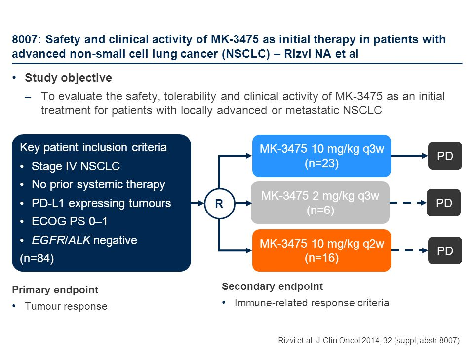 Key patient inclusion criteria Stage IV NSCLC