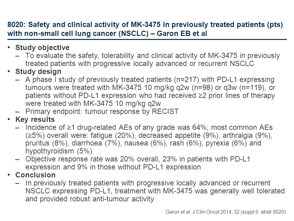 Primary endpoint: tumour response by RECIST Key results