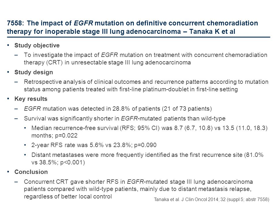 7558: The impact of EGFR mutation on definitive concurrent chemoradiation therapy for inoperable stage III lung adenocarcinoma – Tanaka K et al