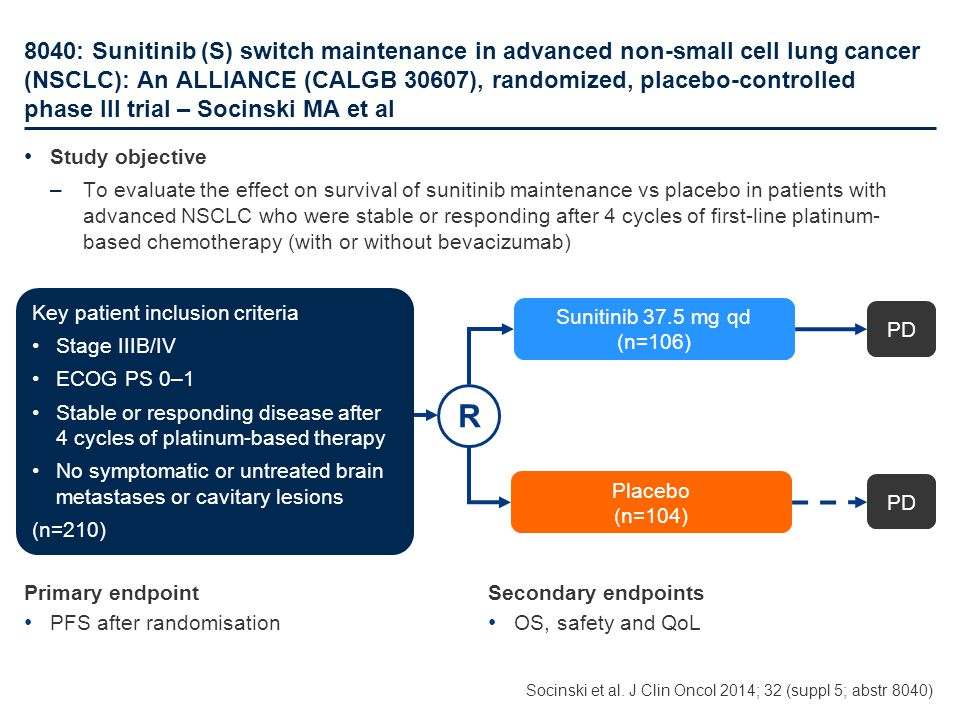 8040: Sunitinib (S) switch maintenance in advanced non-small cell lung cancer (NSCLC): An ALLIANCE (CALGB 30607), randomized, placebo-controlled phase III trial – Socinski MA et al