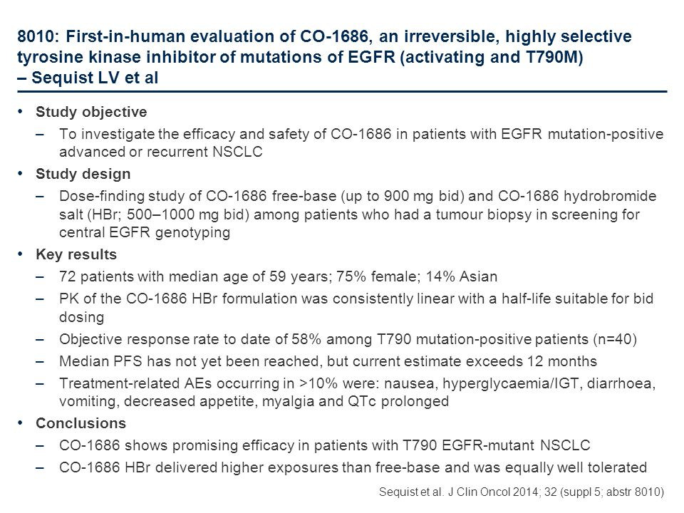8010: First-in-human evaluation of CO-1686, an irreversible, highly selective tyrosine kinase inhibitor of mutations of EGFR (activating and T790M) – Sequist LV et al