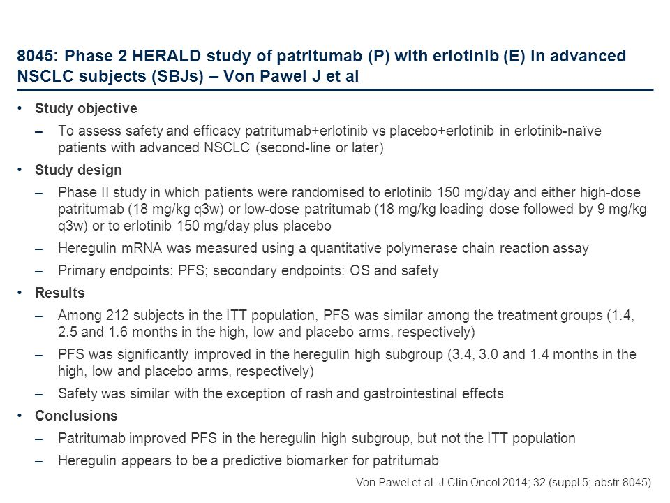 8045: Phase 2 HERALD study of patritumab (P) with erlotinib (E) in advanced NSCLC subjects (SBJs) – Von Pawel J et al