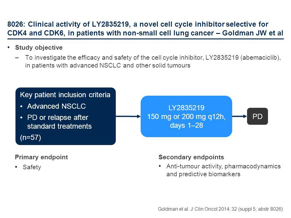 Key patient inclusion criteria Advanced NSCLC