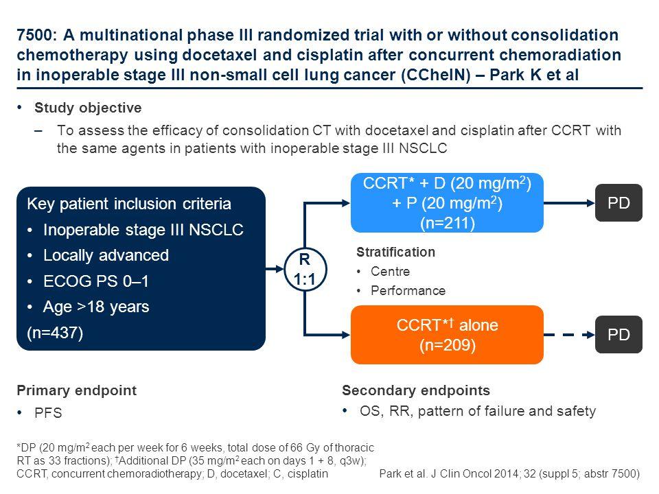 CCRT* + D (20 mg/m2) + P (20 mg/m2)