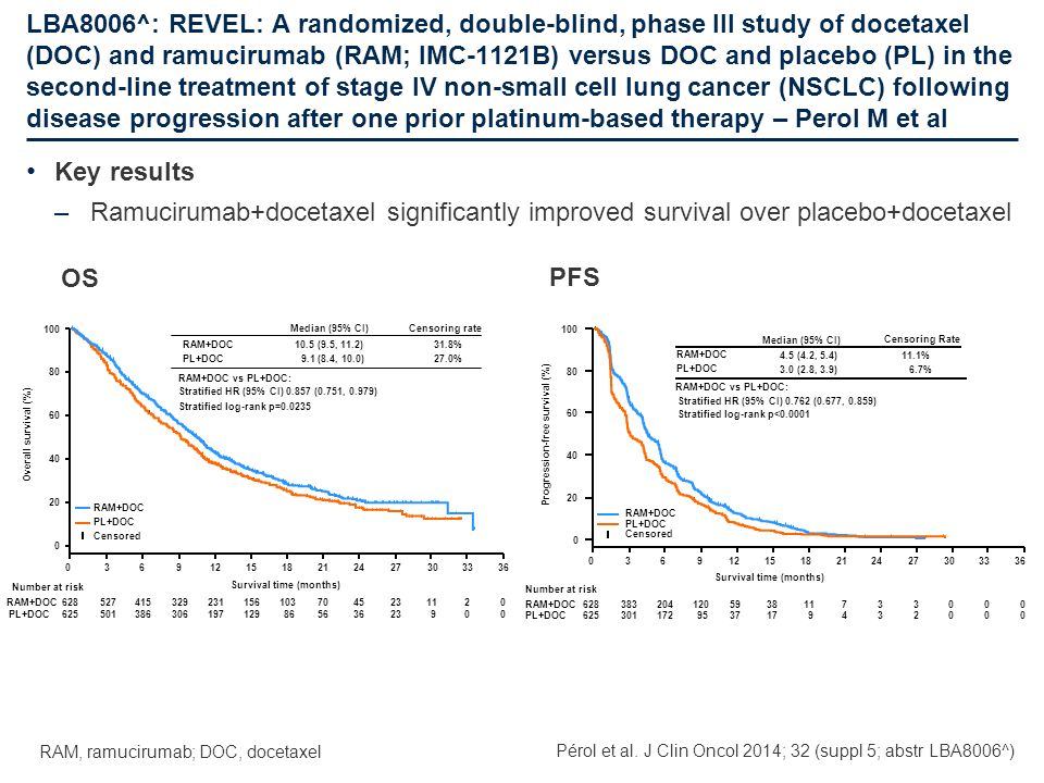 LBA8006^: REVEL: A randomized, double-blind, phase III study of docetaxel (DOC) and ramucirumab (RAM; IMC-1121B) versus DOC and placebo (PL) in the second-line treatment of stage IV non-small cell lung cancer (NSCLC) following disease progression after one prior platinum-based therapy – Perol M et al