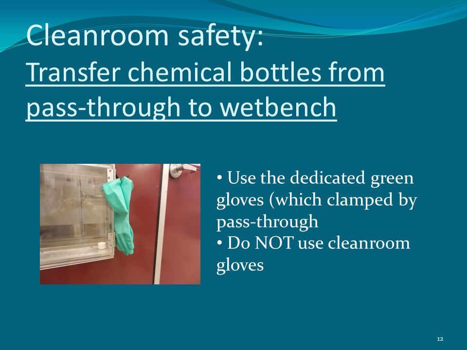 Cleanroom safety: Transfer chemical bottles from pass-through to wetbench