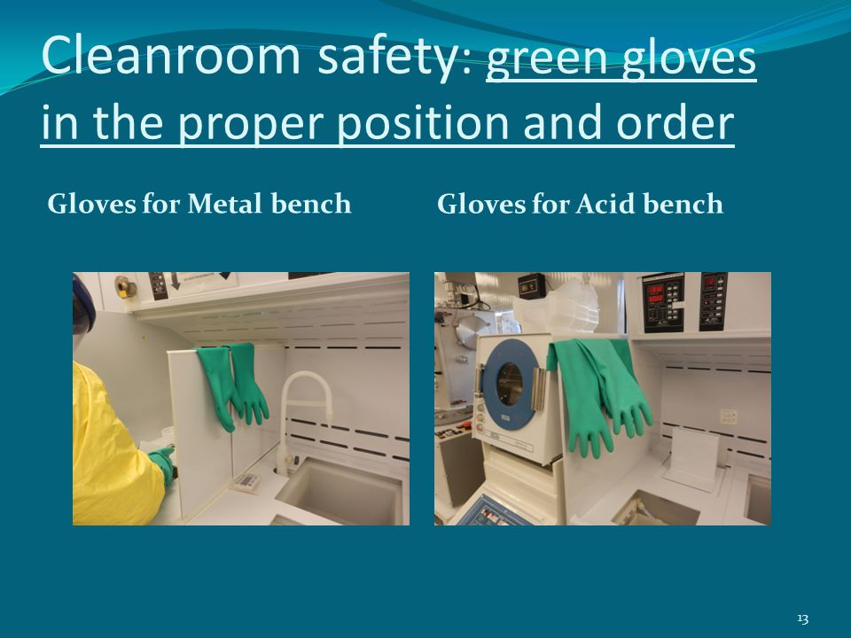 Cleanroom safety: green gloves in the proper position and order
