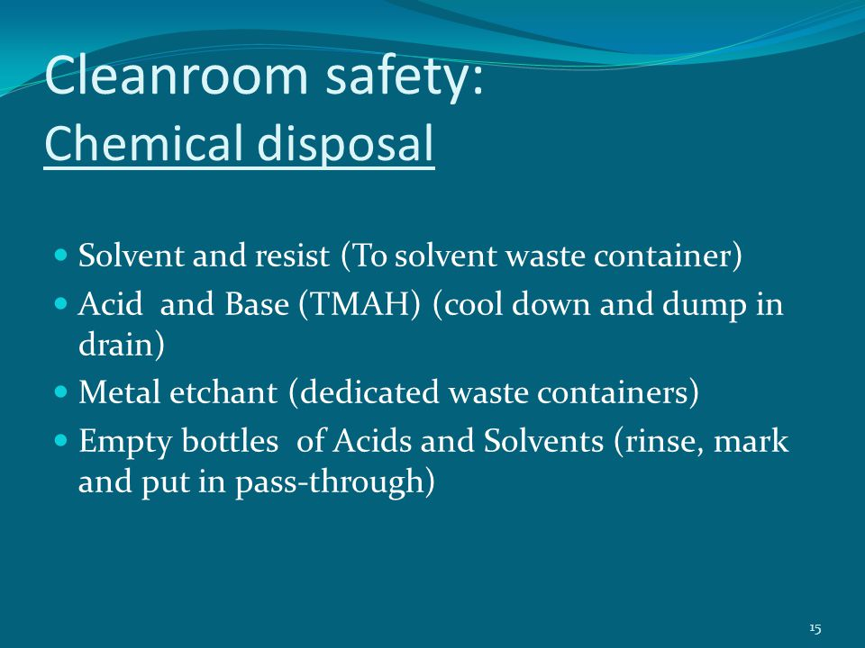 Cleanroom safety: Chemical disposal