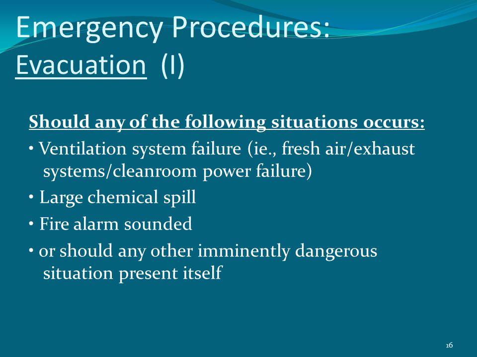 Emergency Procedures: Evacuation (I)