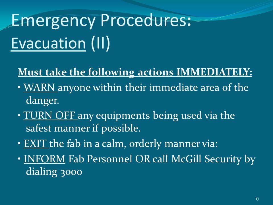 Emergency Procedures: Evacuation (II)